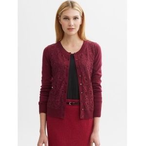 Banana Republic Red Lace Front Button Up Cardigan